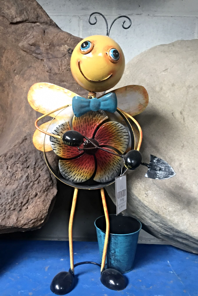 Metal Yellow Dancing Bee Planter Ornament with Windmill Feature